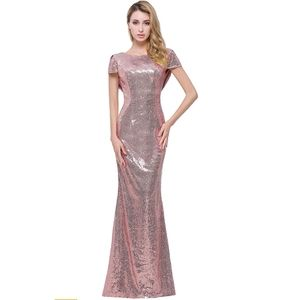 Dresses - Honey Qiao Rose Gold Sequin Gown